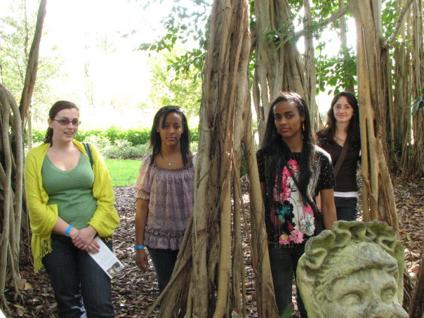 My friends (see Lucia?), sister, and I all hanging out in the Banyan trees in FL