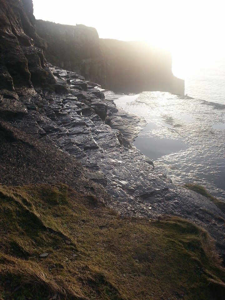 My friend bravely went down pretty far to get this picture at the Cliffs of Moher.