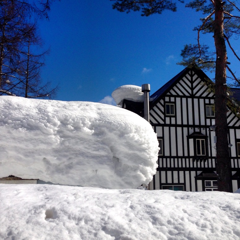 Our lodge! And a.... Er.... Wall of snow?