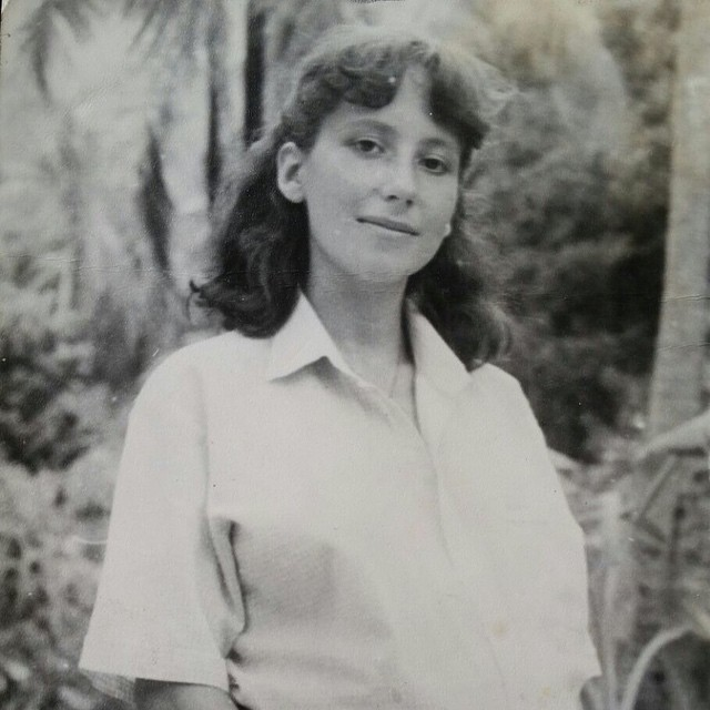 My mom in Providencia, pregnant with my sister